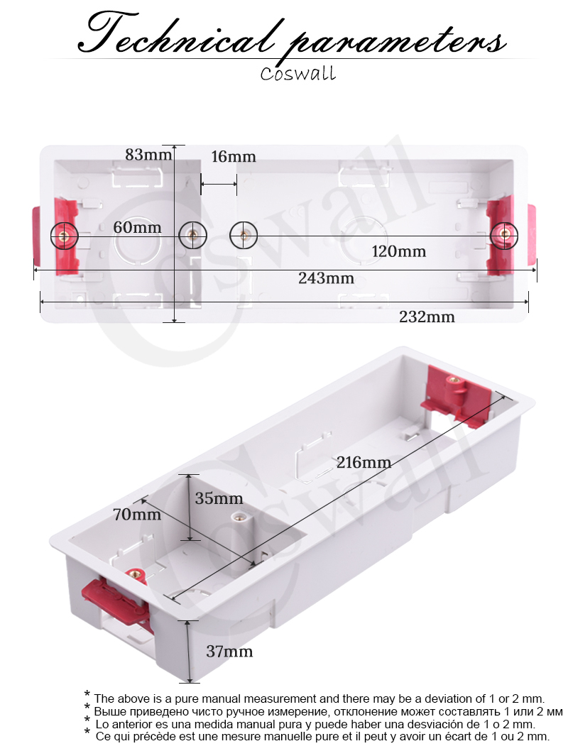 Coswall 86 + 146 type dry lining box for gypsum board plasterboad drywall 35mm depth wall switch box wall socket cassette (white)