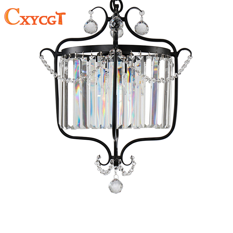 American Black Crystal Pendant lights for Kitchen Dining Room Cabinet Vintage Hanging Lamp american standard kitchen cabinet design kitchen cabinet sets made in china