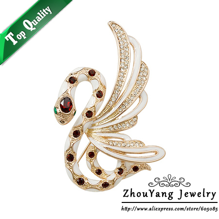 ZYX014 Fly Snake  Champagne Gold Plated Brooches Jewelry Austrian Crystal  Wholesale