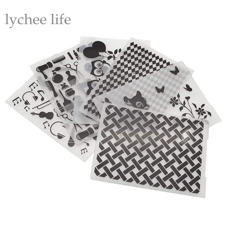 Lychee 1pc Plastic Embossing Folder For Scrapbook DIY Album Card Tool Plastic Template Stamp Butterfly Guitar Owl Pattern
