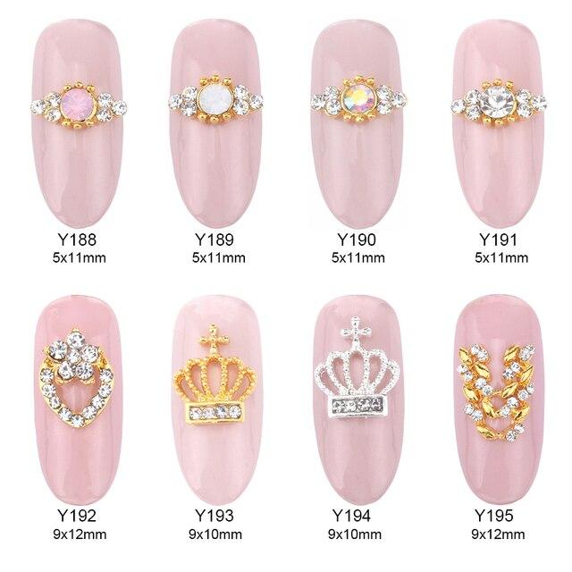 10pcs Opal stone tiara nail stones for nails pearl decoration gold ring nail  art 3d metal supplies Y188~195 3a1bb1e84d07