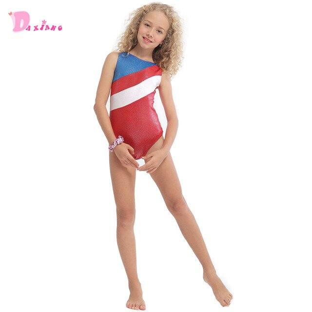 b80ab8ef4 Girls Kids Gymnastics Leotards Dance Wear Children Red Stripes ...