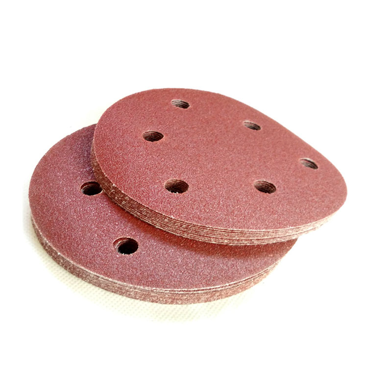 Dry Sanding Paper 5 Inch 6 Hole Sandpaper Disk Sandpaper Red Sand Car  Furniture 125MM Flocking Matte Paper