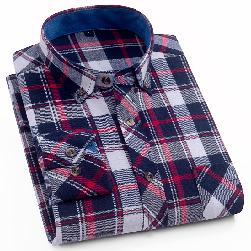Brand Men's Flannel Shirts UK Long Sleeve High Quality Cotton Fashion Plaid Casual Shirt For Men Chemise Homme 4XL AFS27