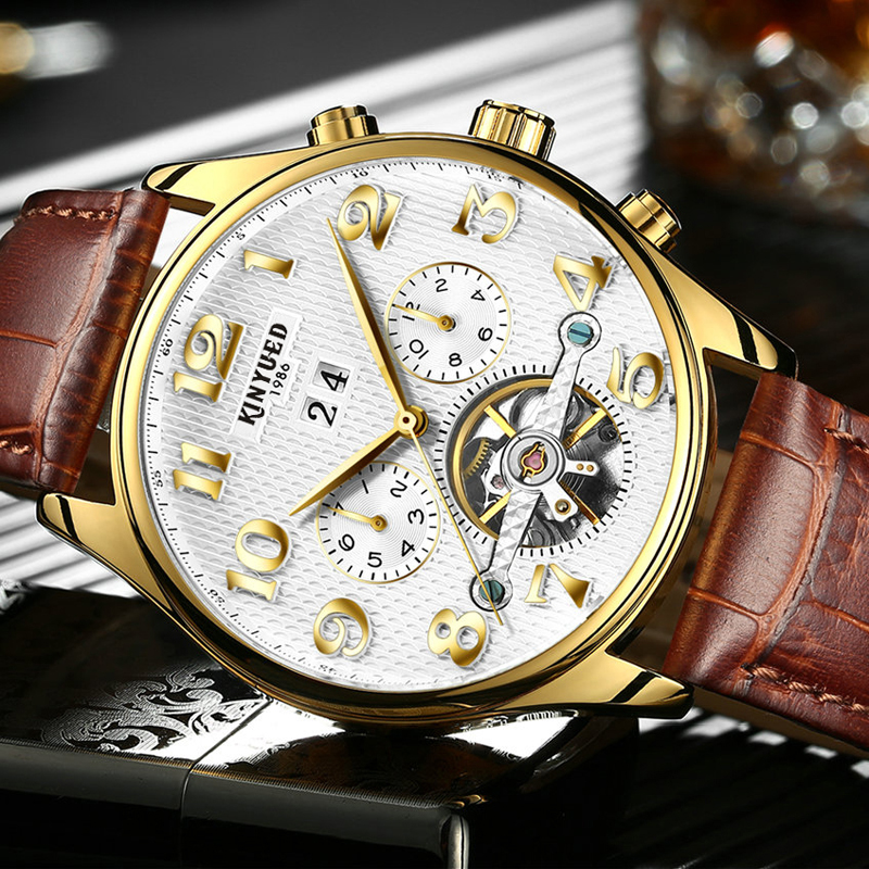 KINYUED Automatic Skeleton Watch Men Waterproof Perpetual Calendar Self-wind Tourbillon Mechanical Watches Erkek Mekanik Saat kinyued automatic skeleton watch men waterproof perpetual calendar self wind tourbillon mechanical watches erkek mekanik saat