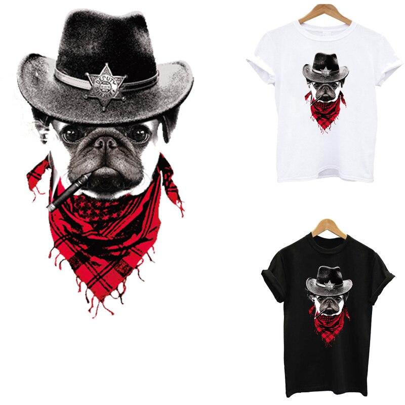 Ferro em listras do remendo do cão da transferência em remendos sensíveis ao calor das etiquetas da roupa que passa a impressão para a aplicação da roupa de um