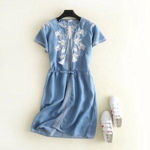 2020 lato nowy nabytek ze sznurkiem w pasie sukienka jeansowa dopasowana, w kwiaty haft koronkowa sukienka z frędzlami bezpłatna wysyłka
