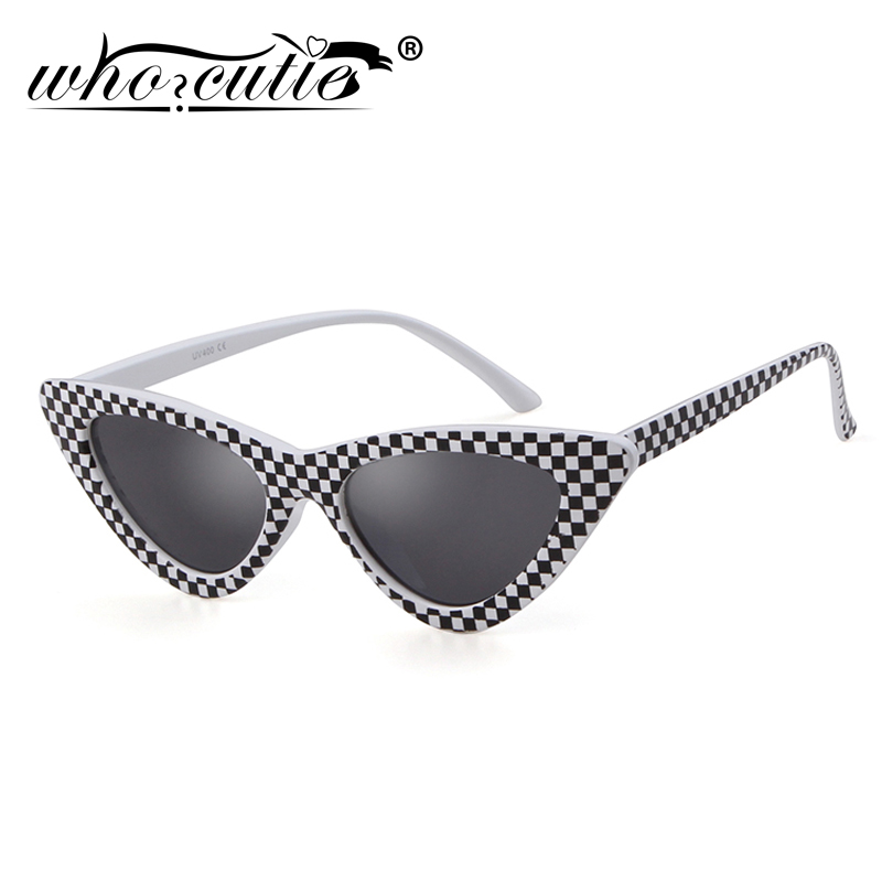 WHO CUTIE 2019 Fashion Cat Eye Sunglasses Women 90S Retro Vintage Small Frame Checkered Sun Glasses Black Red Pink Shades S031