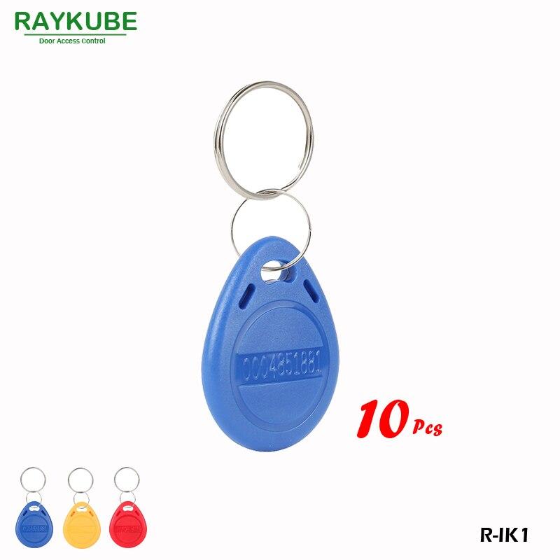 RAYKUBE R-IK1 10Pcs/Lot 125Khz RFID Proximity Keyfobs For Door Access Security Door Key Bule Keyfobs raykube 125khz rfid proximity keyfobs 10pcs lot tk4100 em keytags rfid for access control keyfobs r ik1