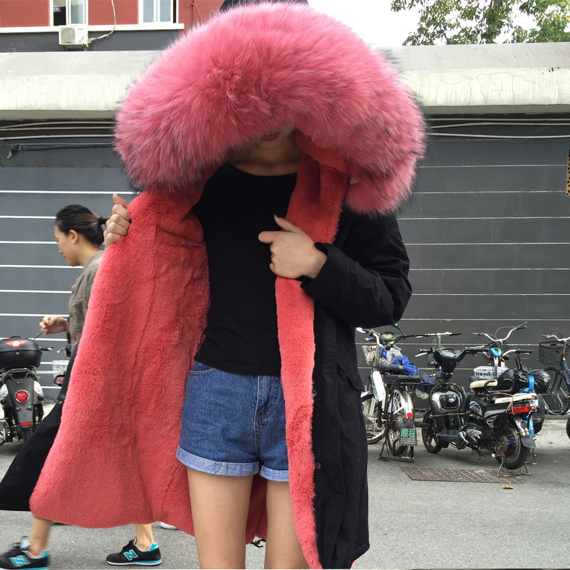 Fourrure Rouge De Mme 100 Style 2017 Longue Pastèque Arrivée Noir Réel Photo Nouvelle Parka Porter M Mode Nouveau 0xwx47qngS