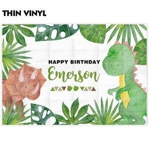 Image 2 - Allenjoy backdrop for photography studio green plant cute Cartoon dinosaur party birthday photo background econ vinyl photophone