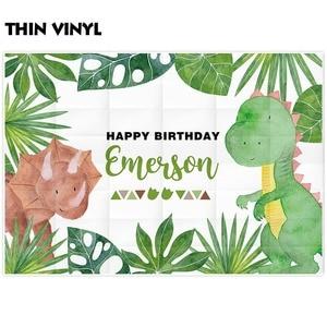 Image 2 - Allenjoy sevimli karikatür dinozor parti zemin mutlu doğum günü yeşil bitki orman fotoğraf arka plan bebek duş Econ vinil afişler