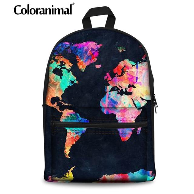 US $24.39 39% OFF Coloranimal World Map Teenager Backpack Women Men's on
