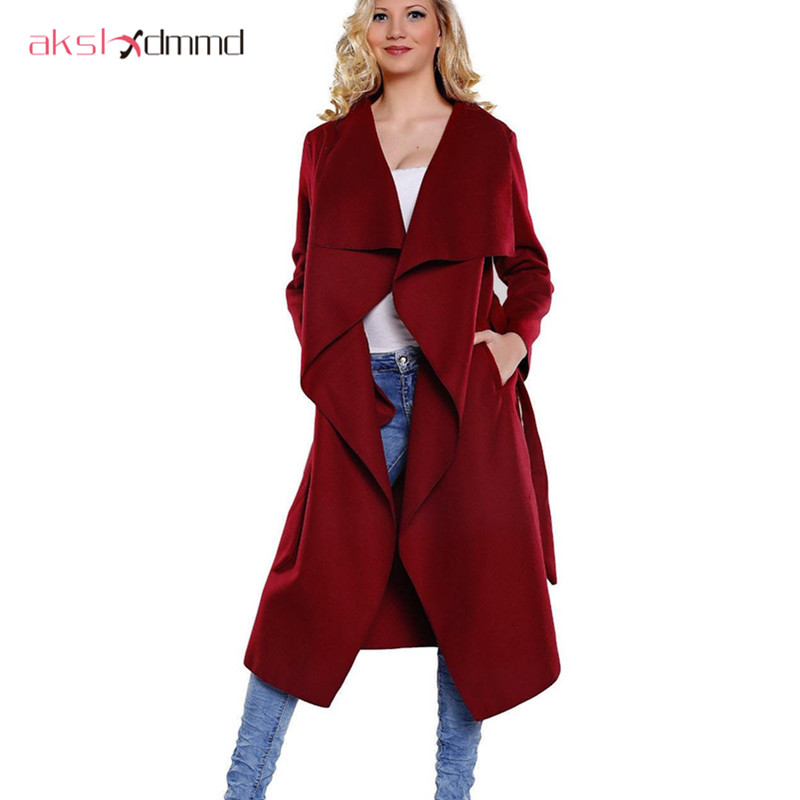AKSLXDMMD 2017 New Autumn Winter Coat Women Wide Lapel Belt Wool Coat Female Long   Trench   Coat Casacos Wool Coats Poncho LH193