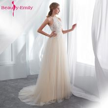 Beauty Emily White Lace Formal Evening Dresses 2018 long Plus Size A-Line Party Floor-Length Prom Dress Elegant