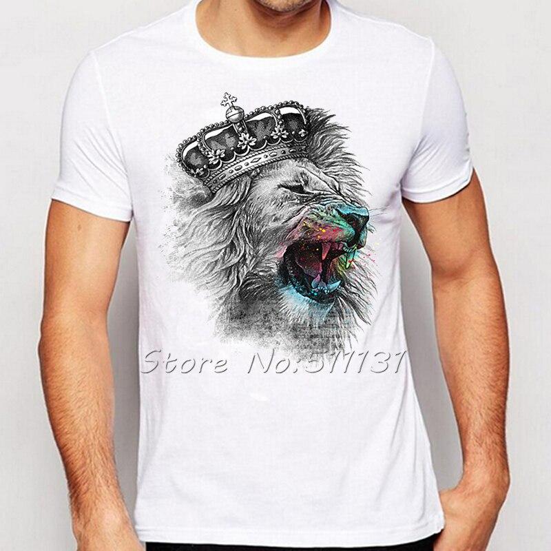 Newest fashion cool crown lion printed t shirt summer for Printed t shirts mens fashion