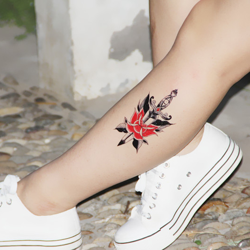 Environmental Women Men Sexy School arm leg Waterproof Temporary Tattoo sword flower designs Spray Fake Transfer Stickers