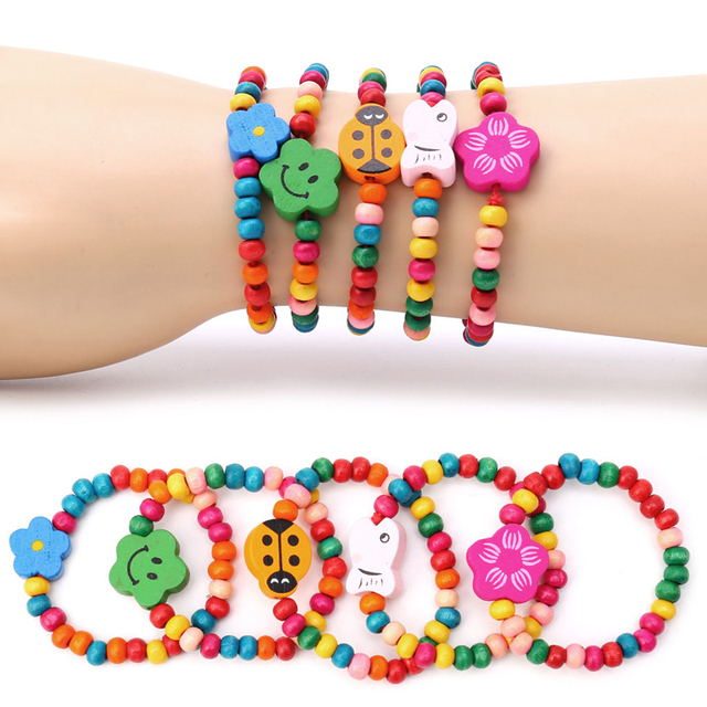 5pc Lovely Kids Children Wood Elastic Bead Bracelets Birthday Party Jewelry Gift
