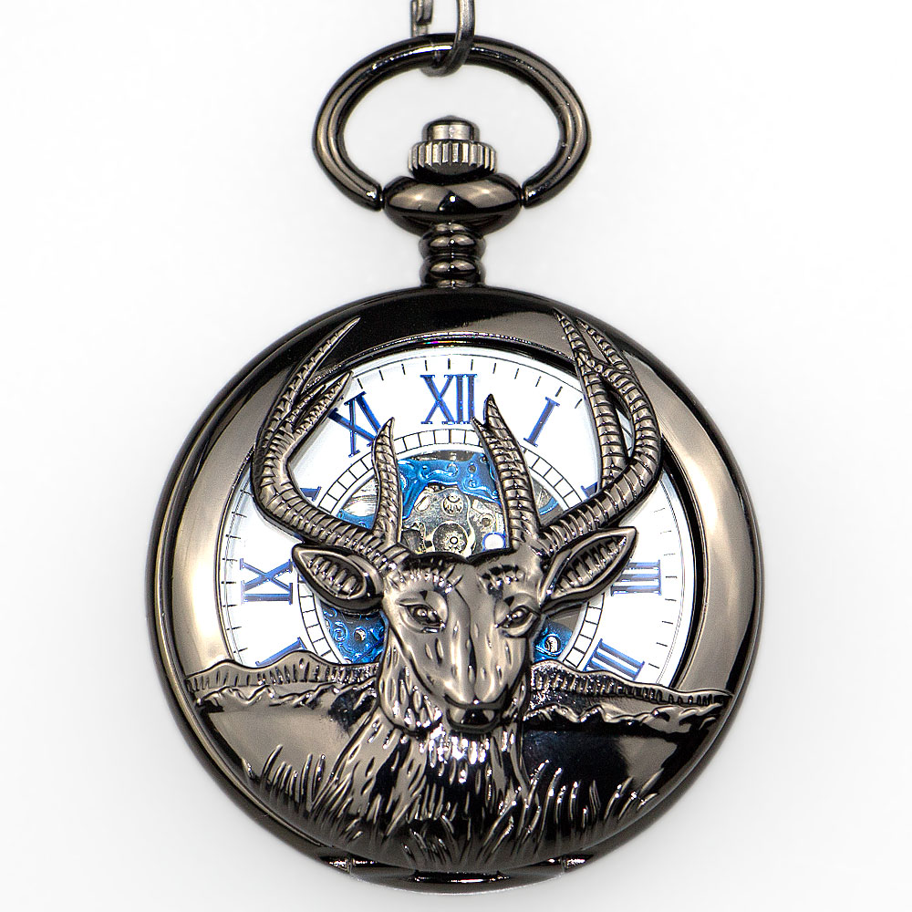 Antique Steampunk Mechanical Pocket Watch Men With Chain Deer Animal Hollow Design Dial Roman Number Open Face Male PJX1332
