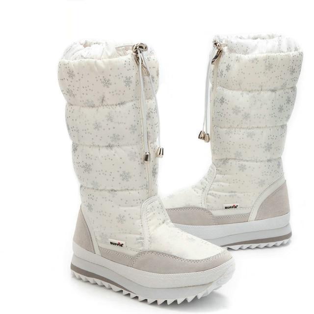 Размер 35–43 модные теплые плюшевые женские сапоги зимние дамские ботильоны водонепроницаемые сапоги на молнии белого цвета со снежинками
