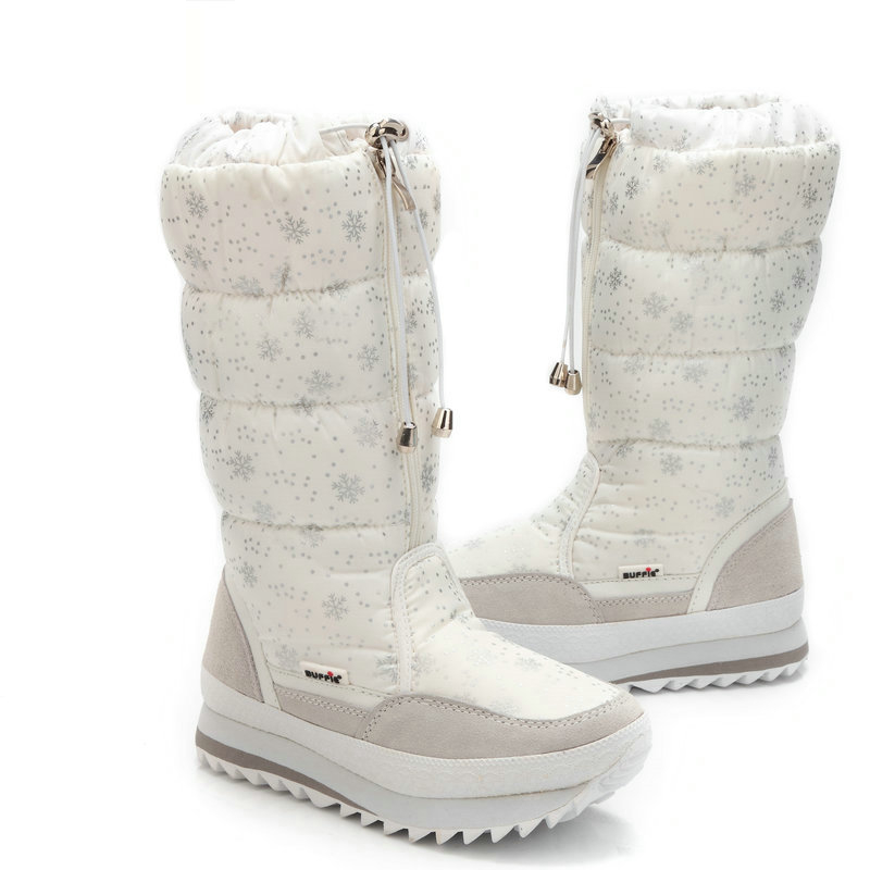 Size 35-43 Fashion Women Boots Plush Warm Snow Boots Ladies Winter Ankle Boots Waterproof Zipper White Colour Snow Flower Botas fawn warm women s snow boots ming blue size 37