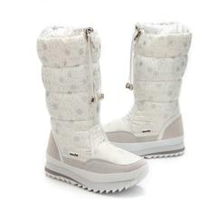Größe 35-43 Mode Frauen Stiefel Plüsch Warmer Schnee Stiefel Damen Winter Stiefeletten Wasserdichte Reißverschluss Weiß Farbe Schnee blume Botas