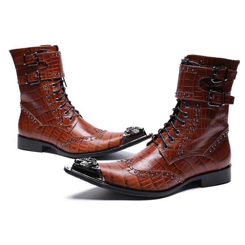 Bottes Cuir Hommes Homme Chaussures En Bout Rivets De Sl419 Véritable Moto Pointu Fait Cloutée Main Haute top Ceinture Marron Mode Longues 4L53ARqcj