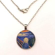 GDRGYB The Scream Pendant Edward Munch Art Der Schrei Natur necklace Silver Glass Jewelry Birthday Gift for Children