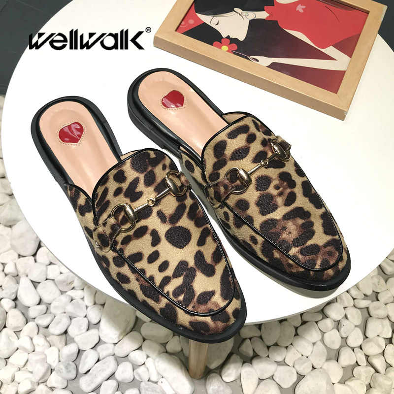 efa34d1a6081e Wellwalk Women Mules Shoes Ladies Leopard Shoes Women Slippers House Slides  Flat Women Shoes Brand Buckle