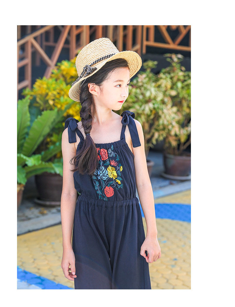 1fc7ee6c5c25 floral pattern kid girls jumpsuit summer 2018 spring teenage pants  sleeveless pink blue overalls girls children