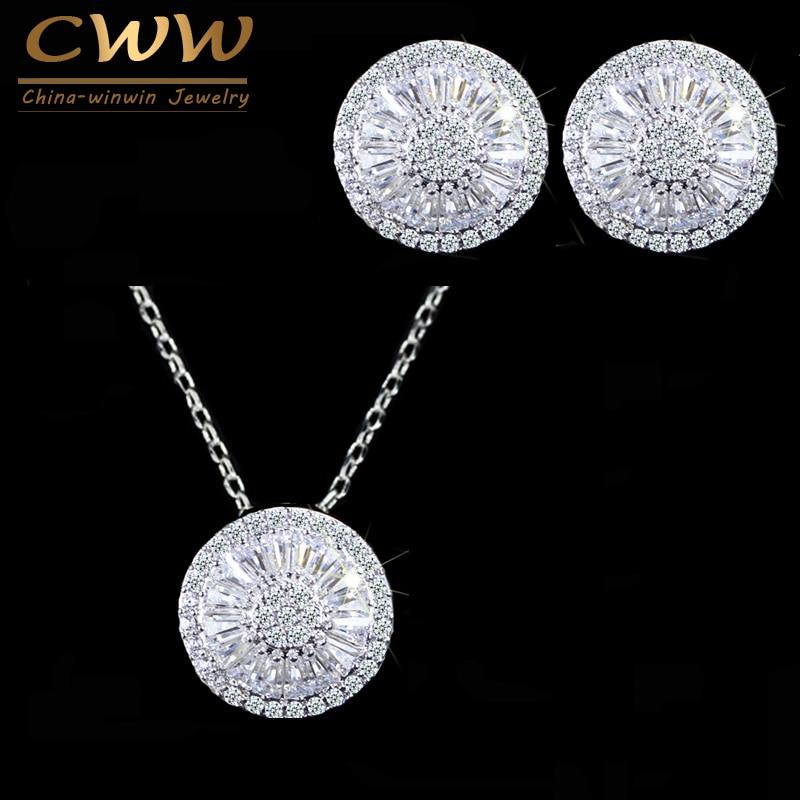 Cwwzircons qualidade superior cz cristal feminino moda jóias brilhante redondo zircão cúbico colar e brinco conjunto de jóias t039