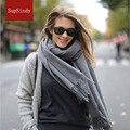 2017 новый зимний шарф женщины платок 100% шерсть Кашемир Люксовый бренд кисточкой конфеты цвет мягкие удобные теплые шарфы