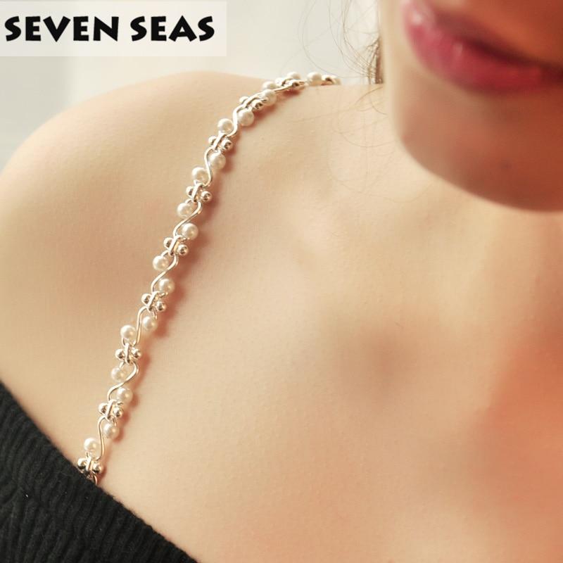 Women Intimate Bra Accessories Decorative Shoulder Pearl Beaded Bra Straps Replacement Underwear Belt