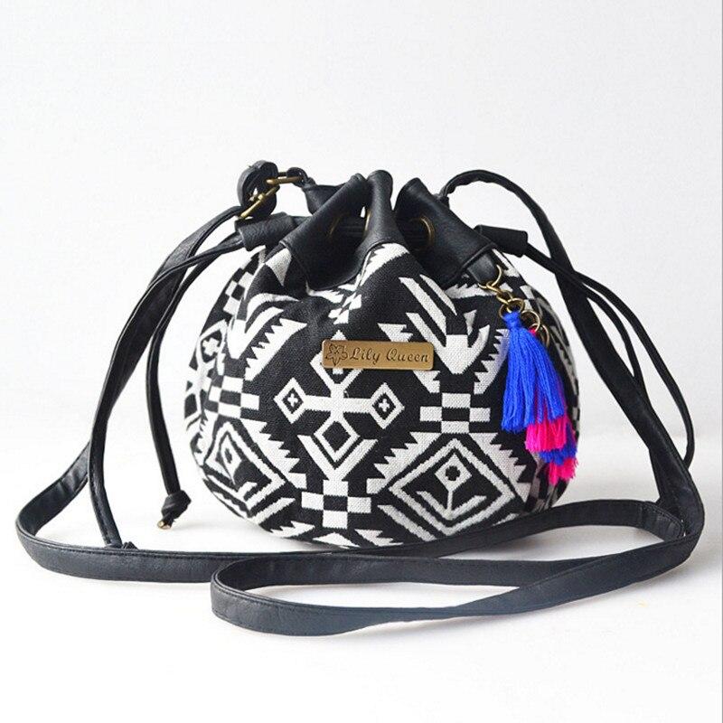 Bohemia Canvas Drawstring Bucket Bag Shoulder Handbags Women's National Bucket Bag Messenger Bags Bolsa Feminina