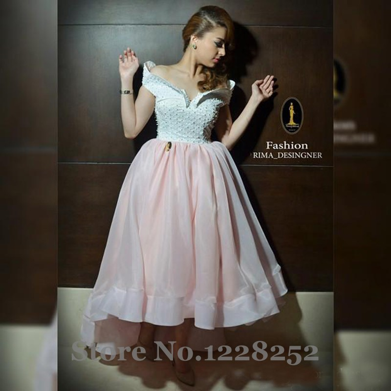 3241f67f4f6 2017 High Low Ruffle Prom Dresses Off the Shoulder Beaded Pearls Peach Organza  Evening Gown With Short Sleeves Formal Dress