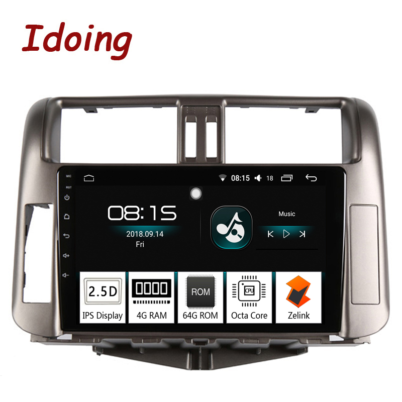 Idoing 94G+64G Octa Core Car Android8.0 Radio Multimedia Player Fit Toyota Prado 150 2010 2.5D IPS Screen GPS Navigation PX5 tv