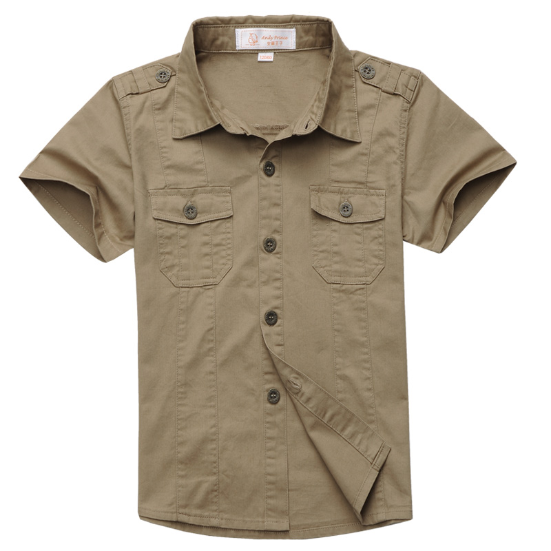 New Fashion boys shirt 100% cotton  clothes personalized solid color casual Shirt outdoor military style for kids 6-15years
