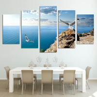5 Piece Canvas Art Paintings HD Printed Blue Ocean Birds Seascape Sky Canvas Painting Wall Decorations Living Room Ny-6217