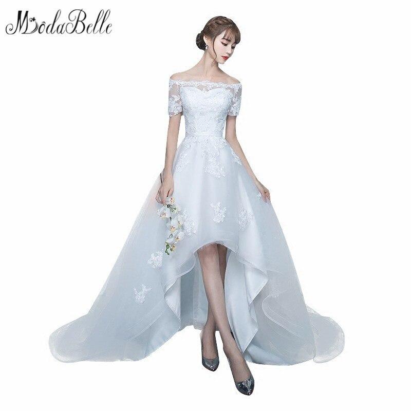 Modabelle haute basse Boho robe de mariée courte avant longue dos une ligne Simple Style bohem gelinlik 2018 robes de mariée