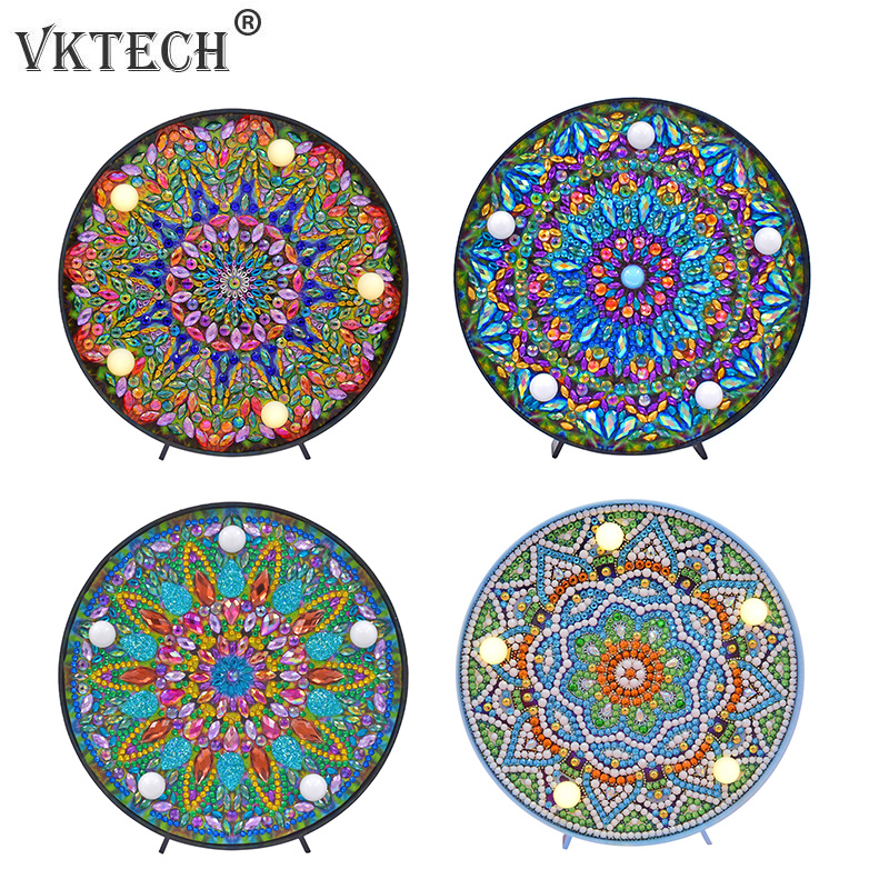 DIY Mandala LED Diamond Painting Light Box Cross Stitch Embroidery Lamp Full Special Drill LED Lamp Rhinestones Home Decoration(China)