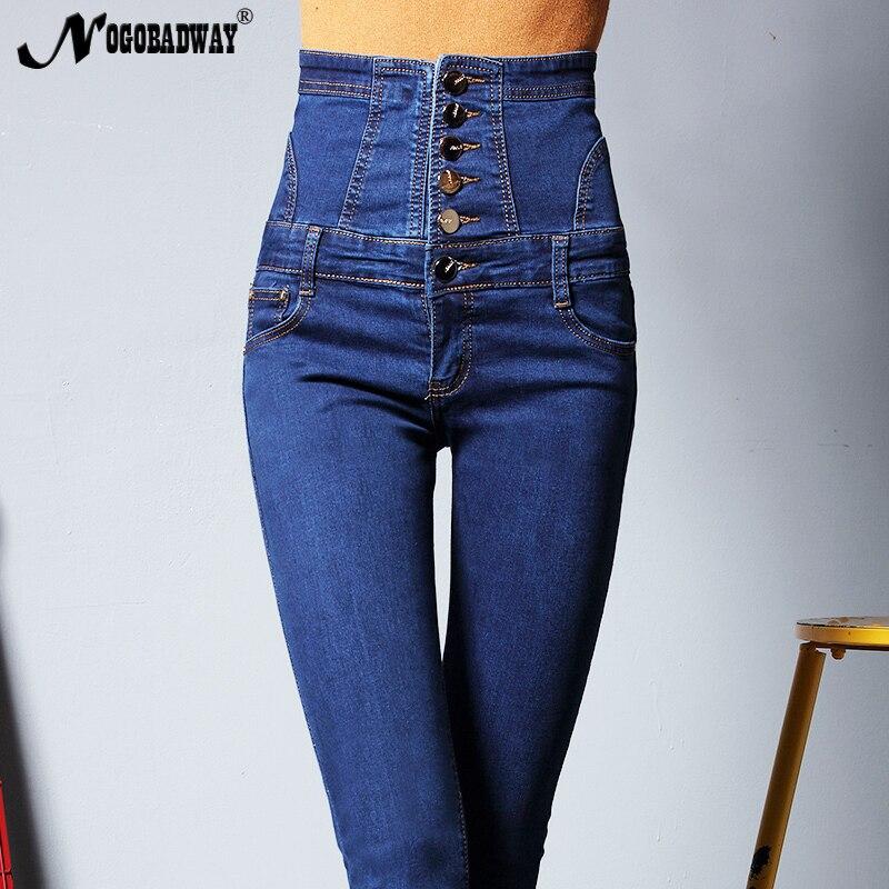 Plus Size Button High Waist Jeans Pants Women Casual Long Trousers Skinny Denim Pencil Pant Autumn Fashion Femme Bottom 5XL 6XL