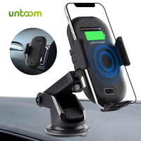 Untoom Wireless Car Charger Automatic Clamping 10W Fast Car Charger Phone Holder Intelligent Infrared Sensor Wireless Charging
