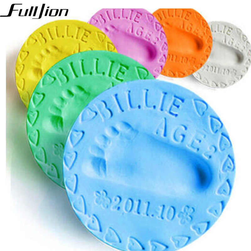 Fulljion 9 Color Baby Care Air Drying Soft Clay Baby Handprint Footprint Imprint Kit Casting Parent-child hand inkpad fingerprnt