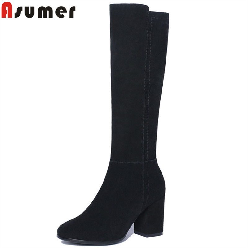 ASUMER 2018 fashion winter boots women round toe zip knee high boots thick high heels suede leather boots black keep warmASUMER 2018 fashion winter boots women round toe zip knee high boots thick high heels suede leather boots black keep warm