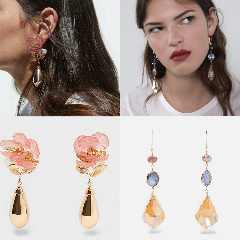 Dvacaman Statement Earrings Jewelry Flower Crystal Wedding-Gift Dangle Pink Water-Metal