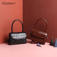Genuine Cow Leather Handbag Women Top Handle Crocodile Pattern Small Tote Bolsas Cowhide Luxury Handbags Women Bags Designer