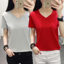 2019 New Products Simple and stylish Women Summer Clothes Solid color V-Neck Cotton Short sleeve Women Tshirt Plus Size M-5XL недорго, оригинальная цена