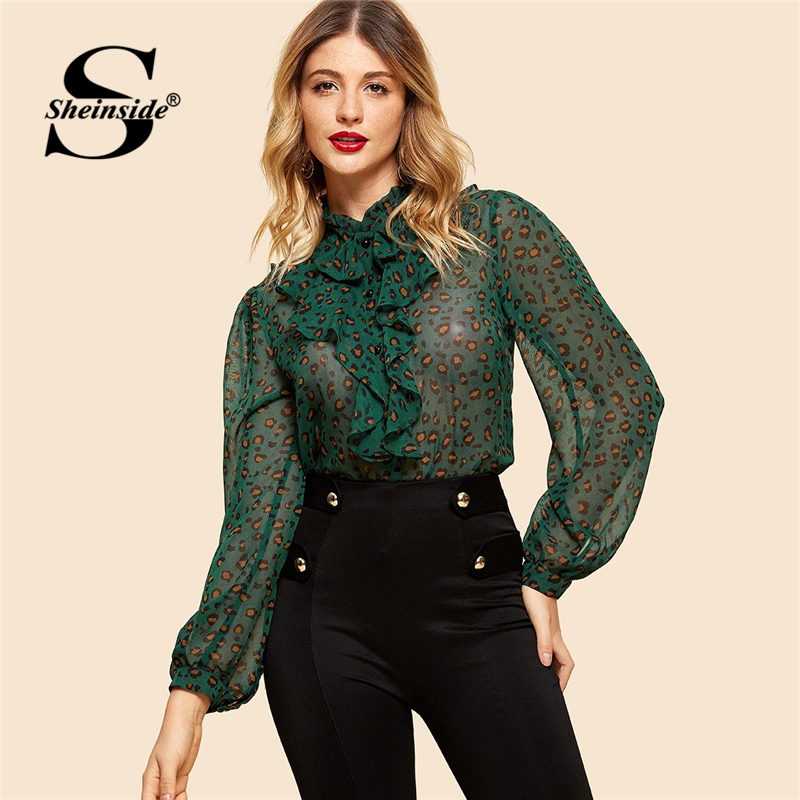 Sheinside Button Up Leopard Print   Blouse     Shirt   Women Long Sleeve Top 2019 Green Ruffle Details Sexy Womens   Blouses   and   Shirts
