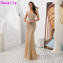 Gold Sequins Mermaid Dubai Women Luxury Evening Dresses 2019 Sweetheart  Lady Sparkly Formal Party Dress Reception 7a1961911fda