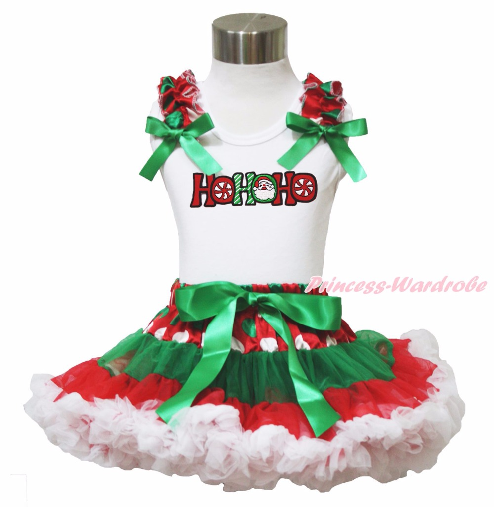 Xmas Rhinestone Elf Socks Rhinestone Minnie My First Christmas Socks Top Green White Dot Red Skirt Baby Girl Outfit 1-8Y my christmas cd